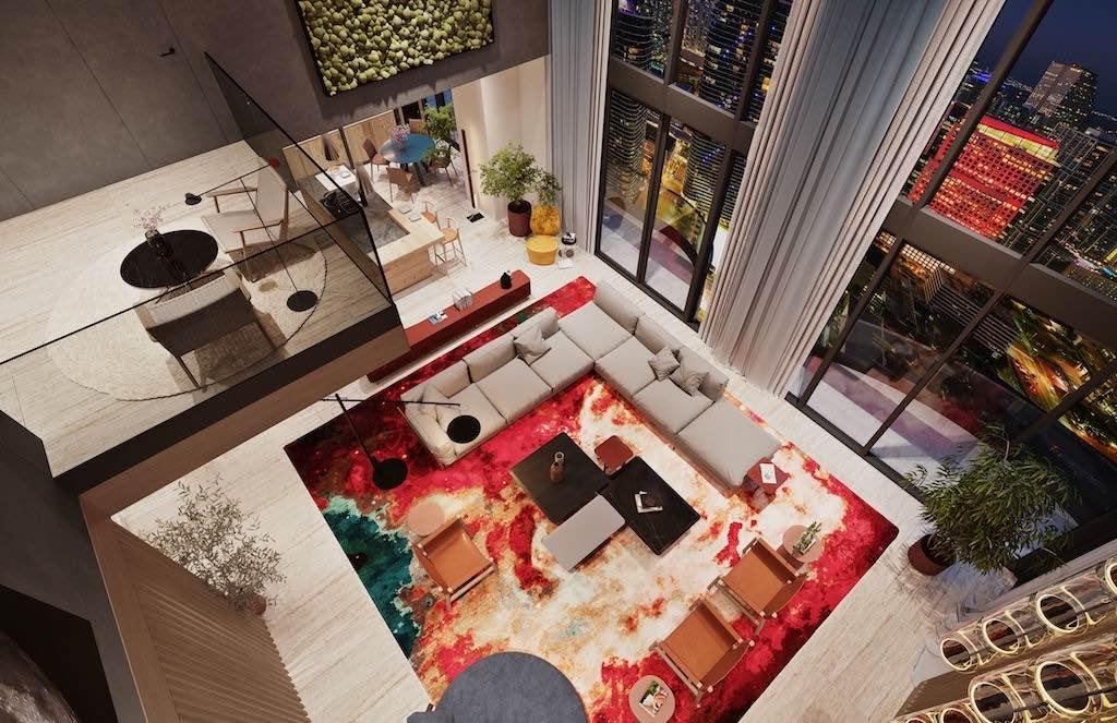 Los residentes también disponen de un cine privado con asientos tipo sala de estar, sala de billar, servicio de concierge y más.