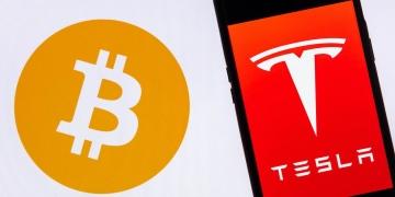 Logotipo de Tesla en un teléfono inteligente contra el logotipo de Bitcoin.