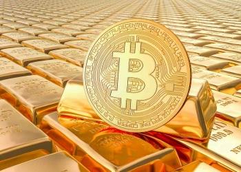 Lingotes de oro con bitcoin