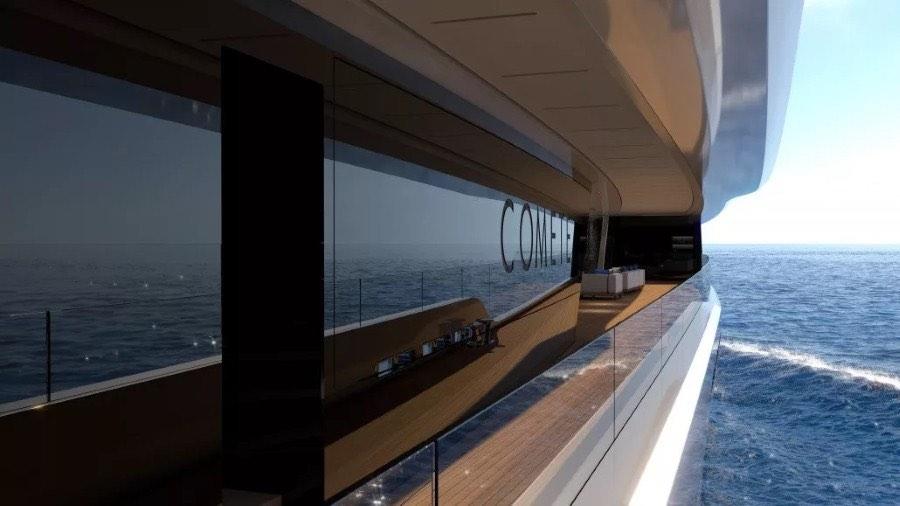 Superyate de lujo de 272 pies con una piscina con fondo de cristal y dos jacuzzis