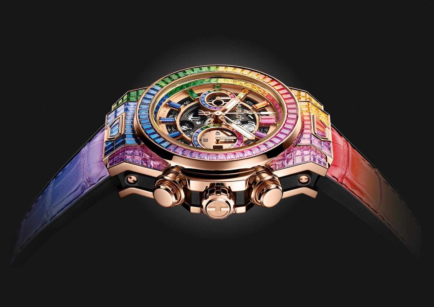Hublot Big Bang Unico Full Baguette King Gold Rainbow con 290 piedras preciosas y oro de 24 quilates
