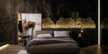 Interior de dormitorio moderno y lujoso.