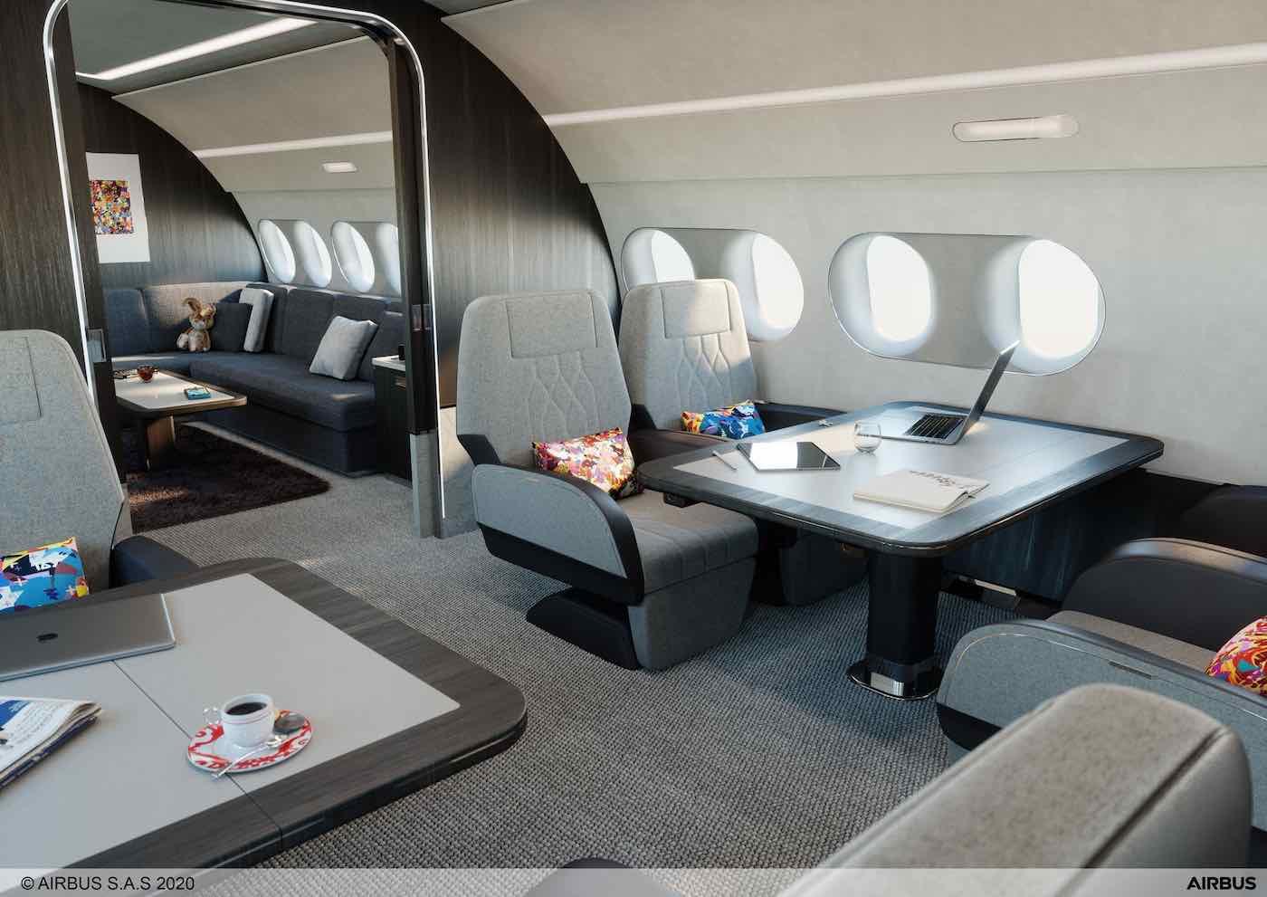Un vistazo al lujoso concepto de interior del nuevo jet privado Airbus A220