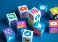 Logos de redes sociales y mensajería online, como Facebook, Instagram, YouTube, Telegram y otros.