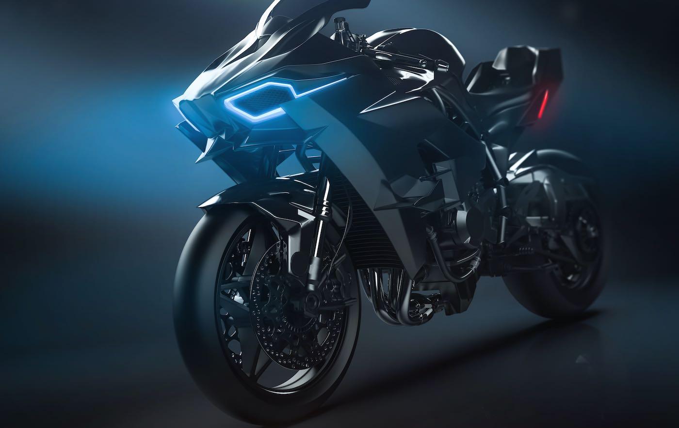 Motocicleta deportiva moderna con faro LED personalizado (Ilustración 3D)