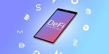 Smartphone con iconos de monedas y texto de finanzas descentralizadas DeFi.