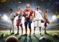 Collage de jugadores deportivos de Beisbol, Fútbol americano, Baloncesto y Fútbol.