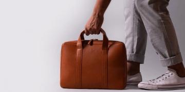 Moderno maletín Harber London para portátil de cuero hecho a mano
