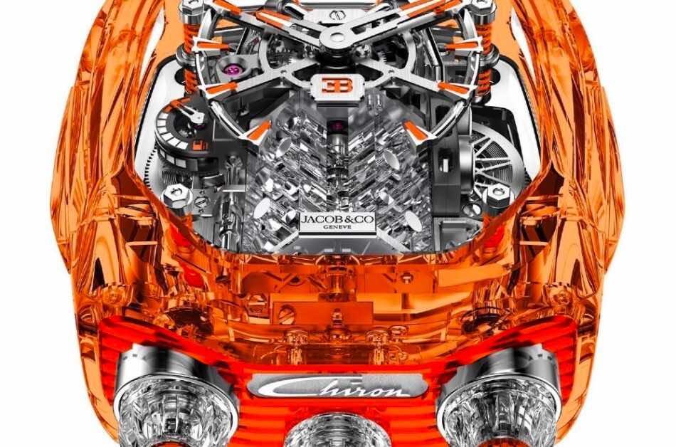 Lo que hace que esta pieza de Jacob & Co se destaque, es que está inspirado en el motor del Chiron.