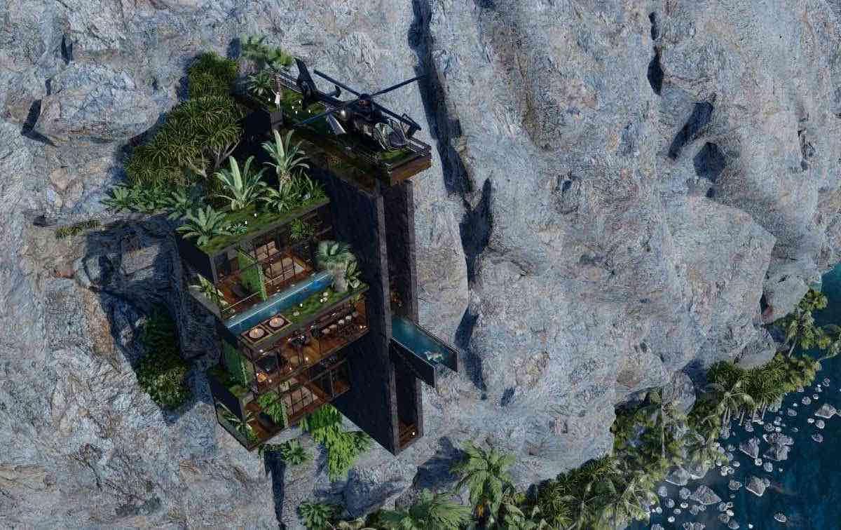 Crown House por Veliz Arquitecto: Un diseño conceptual en un acantilado perfecto para un multimillonario aventurero