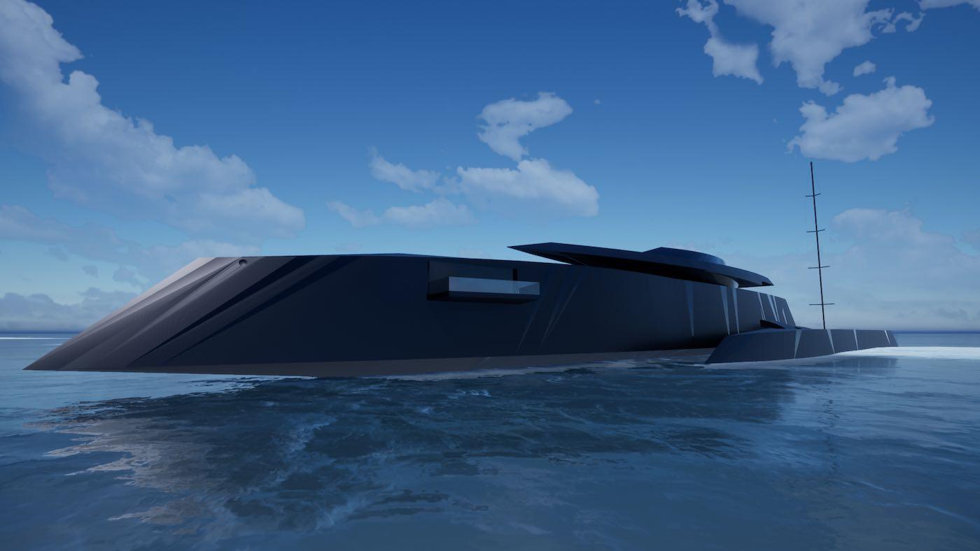 Bond Girl: Un indetectable concepto de trimarán híbrido de 77 metros diseñado para seducir al agente 007