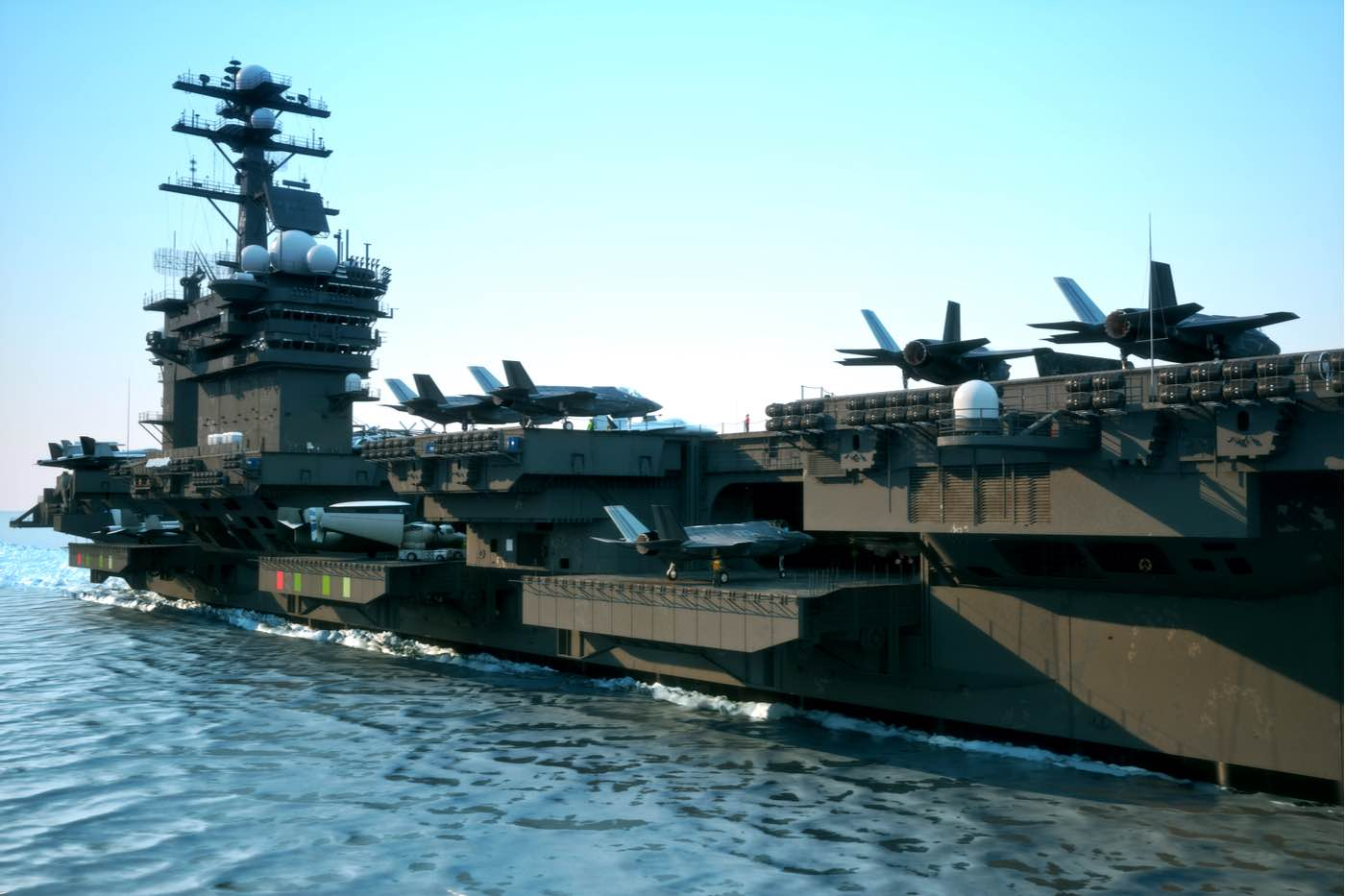 Vista angular de un portaaviones de la Armada.