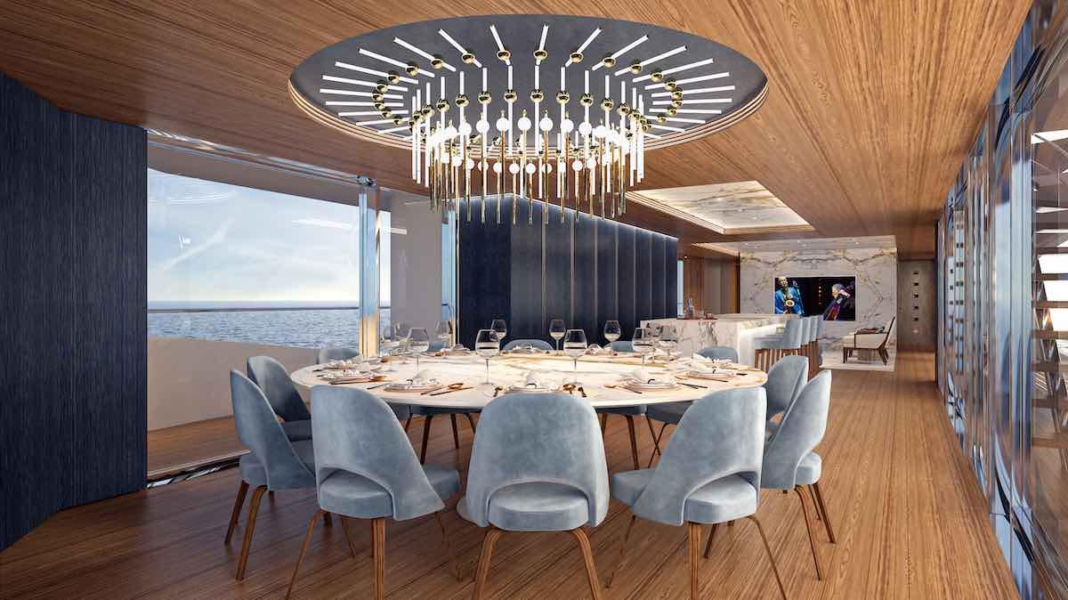 Los exquisitos interiores de la embarcación fueron creados por Claudio Pironi.