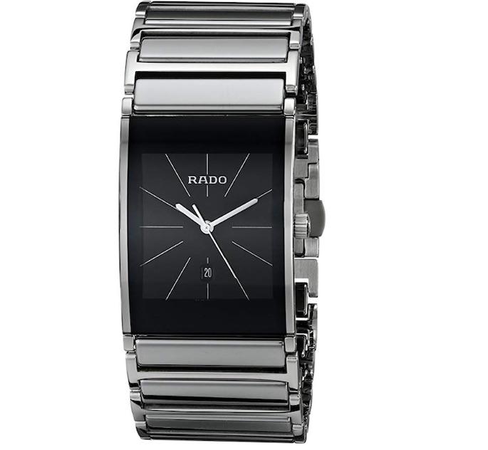 Rado R20784159 Reloj integral de cerámica platino con esfera negra integral.