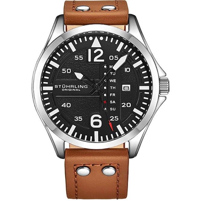 "Stuhrling Original ""Aviator Watch"", Quick-Set Day-Date"