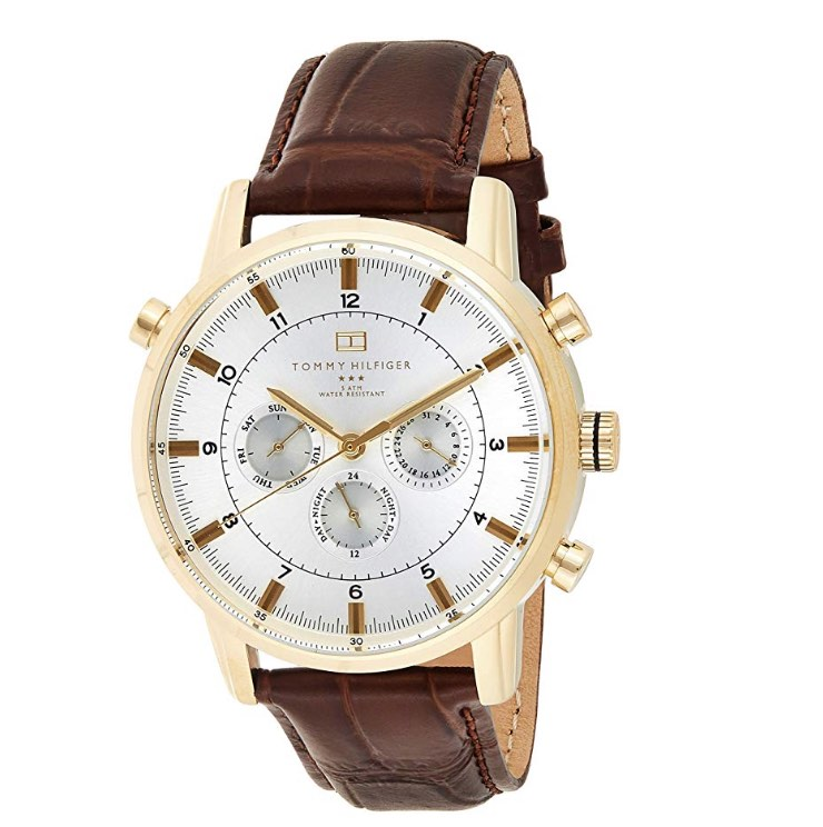 Tommy Hilfiger Gold-Tone w/ Brown Leather Band